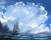 Clipper ship painting by RUSTY RUST sailboat seascape 30x30 oils on canvas / M-371