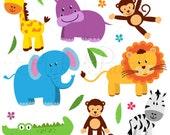 Zoo Animal Clip Art, Zoo Animal Clipart, Safari Jungle Animal Clipart Clip Art - Commercial and Personal Use