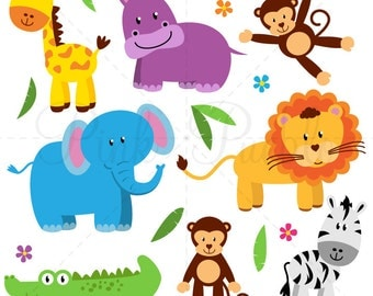Zoo Animal Clip Art, Zoo Animal Clipart, Safari Jungle Animal Clipart Clip Art - Commercial and Personal Use