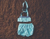 Cake Smash Outfit One Year Old Girl Bikini Cake Smash Set Light Blue Summer Flower