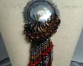 Tiger Stripe Nautilus Shell Bead Embroidered Pendant CUSTOM ORDER