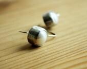 Ready-to-Ship—Rustic Organic Bezel Set Fresh Water Pearl Earrings