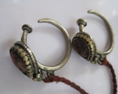RESERVED - Antique Tibetan Earrings - Coral and Brass - Tribal High Gauge - Ethnic Jewelry from Tibet
