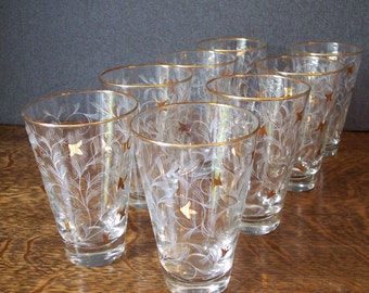Vintage Libbey Royal Fern Glasses Set of Eight