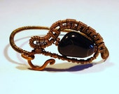 Copper and Black Jasper Freeform Wire Wrapped Bracelet, Free US Shipping