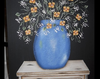 Blue jar with Flowers