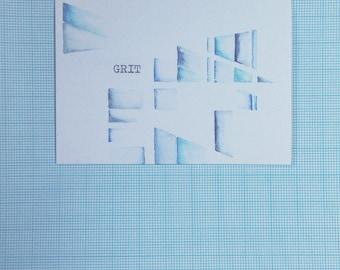 Grit. Watercolour geometric typewriter art by dabblelicious