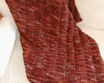 Hand Knitted Blanket by Yvonne, 48 X 60 Harvest Earth Tones