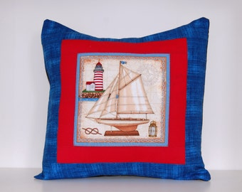 SALE, Sailboat Pillow, Beach Cottage Decor, Nautical