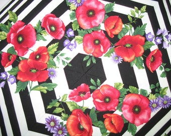 Spring Table Topper, floral, poppies, hexagon. quilted fabric from Benartex Poppy Panache line