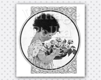 Clip Art Vintage Flowers and Child in Round Frame Clipart Printable Digital Collage Sheet Instant Download Scrapbooking