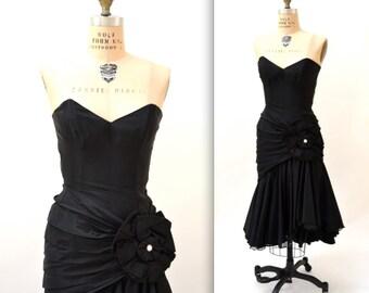 80s Vintage Prom Dress Black Strapless Dress Size XXS XS