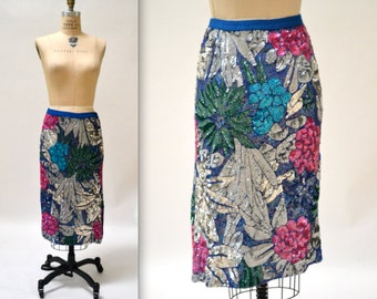 Vintage Metallic Sequin Skirt Size Large with Flowers// Vintage Silver Metallic Sequin Skirt Large
