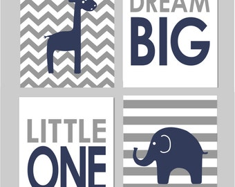 "Dream Big Little One Navy and Grey Nursery You Are My Sunshine Elephant Nursery Love Chevron Prints Set of four 8""x10"" prints"