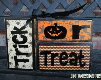 Halloween wood blocks- Trick or treat