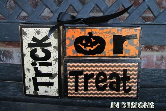 Halloween wood blocks- Trick or treat