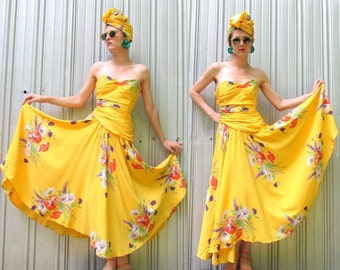 Vintage Yellow Strapless Dress - 1980s - Sweetheart Neckline - Size 2/4