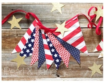 15% off Sale! - Patriotic Fabric Pennant Banner, Bunting - Red, White, and Navy Designer Fabrics - READY TO SHIP!!