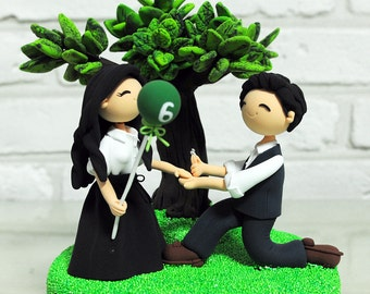 Custom Cake Topper -propose Under the Tree theme-