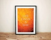 A Fly in Your Ointment // Jurassic Park Quote Poster // Life Finds a Way, Typographic and Amber Textured Illustration
