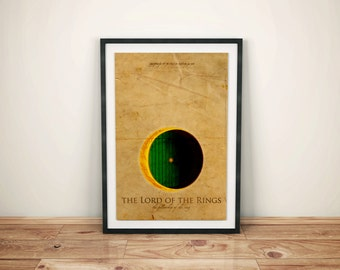 A Door on a Hill // The Fellowship of the Ring Alternative Movie Poster // Movie Quote, Bag End Doorway, and Shining One Ring Illustrations