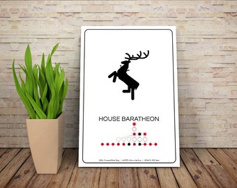 SPOILERS - House Baratheon // Crowned Stag Sigil Pictogram and Liniage Graphic // GOT Inspired Art Print