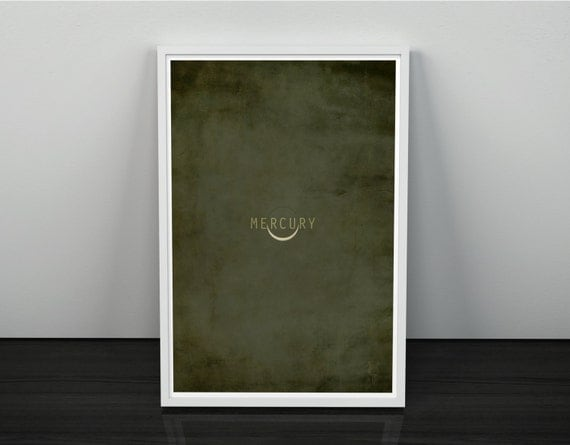 Mercury // Vintage Inspired, Minimalist Planetary Science Print // Grey and Green Textured or Clran Print with Planet Eclipse Graphic