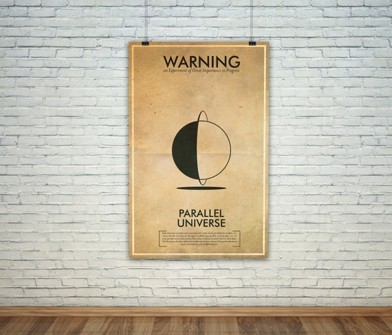 Parallel Universe  // Vintage Science Experiment Warning Poster // Finge Inspired Wall Art for the Budding Mad Scientist