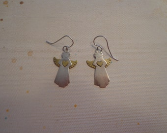 Vintage Sterling Silver 2-Tone Angel Earrings on Pierced Wires Signed KCJ
