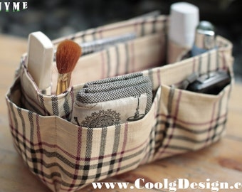 Purse ORGANIZER Insert, Bag and Handbag Organizer, Extra Sturdy / Khaki Plaid / Medium 22x8cm