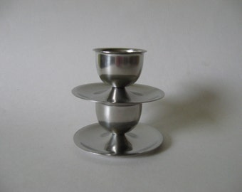 Lundtofte Denmark stainless steel mid century modern vintage egg cups set of two