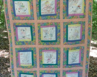 Embroidered Nursery Rhyme Crib Quilt or Wall Hanging - Vintage Handmade - 42 X 55 Inches - NC