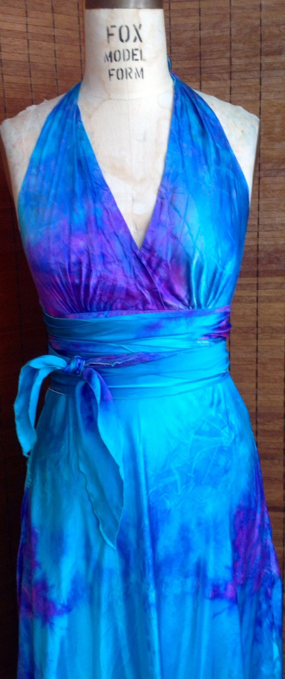 Items similar to turquoise lavender purple silk halter for Dyeing a wedding dress professionally