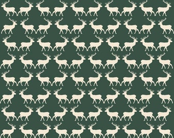 Deer in Green c4753 - POSTCARDS FOR SANTA - My Minds Eye for Riley Blake Designs Fabric - By the Yard