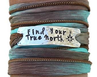 Find Your True North, Wrap Bracelet, Travel Jewelry, Silk Wrap Bracelet, Yoga Jewelry, Yoga Bracelet Wrap, Travel Bracelet, Compass Jewelry