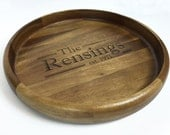 Large Round Wood Serving Tray/Platter - Perfect as a Shower, Wedding, or Housewarming Gift