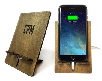 Personalized iPhone Charging Stand with Laser Etched Designed. Ash Stained - iPhone 7, iPhone 7 Plus, iPhone 6 Plus, iPhone 6 or iPhone 5