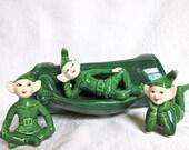 Vintage Elves Green Elf Figurines Pixie Planter Mid Century Decor Christmas 1960s Set of 3