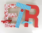 Red and Teal Custom Wood Letters - Girls Bedroom Decoration Ideas - Standing Wooden Letter Set