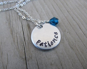 """Patience Inspiration Necklace- Hand-Stamped """"patience"""" with an accent bead in your choice of colors - Hand-Stamped Jewelry"""