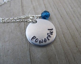 "Inspiration Necklace- ""powerful"" with an accent bead in your choice of colors- Hand-Stamped Jewelry"