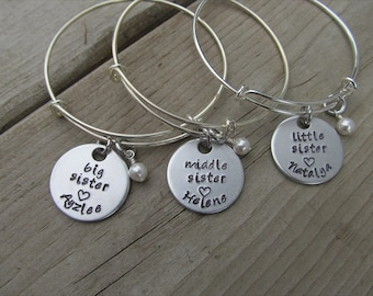 "Personalized set of 3 Sisters Bracelets- 3 Bracelet Set- ""big sister"", ""middle sister"", ""little sister"" each with a name and a pearl"