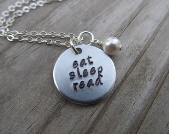 "Inspiration Necklace- ""eat sleep read"" with an accent bead in your choice of colors-Hand-Stamped Jewelry- Gift for Reader"