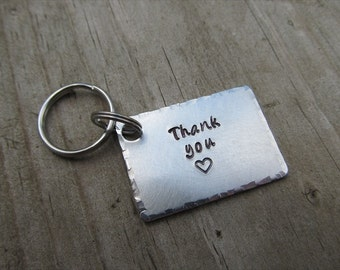 "Thank You Keychain- Stamped Keychain ""Thank you"" with a stamped heart - Metal Keychain"