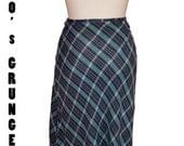 90's Grunge Esprit Plaid Maxi Skirt  size 9-10