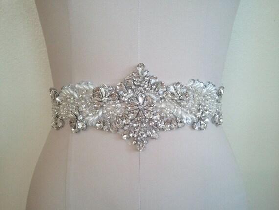 crystal and pearl wedding dress appliqu trim 7 by allysonjames