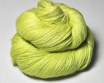 Splitted lime OOAK - BabyAlpaca/Silk Lace Yarn