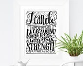 Art print  - I can do everything through him who gives me strength