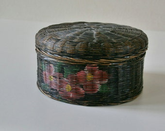 Old Black Painted Basket, Flower,Sewing,Storage