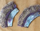 Purple Galaxy Fur Cuffs - Purple grey fur - Boho style - Burning man - Festival fashion